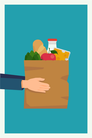 Market delivery service with hand holding shopping bag full of shopping items and goods Illustration
