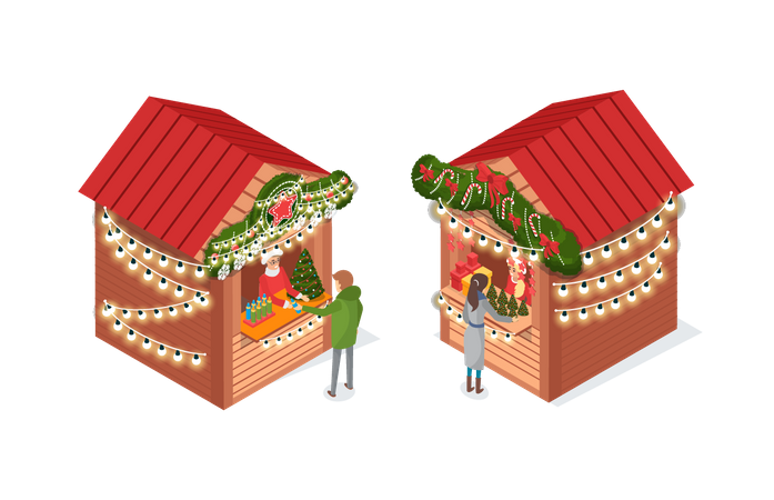 Market with Street Shops Kiosks where people buying decoration things Illustration