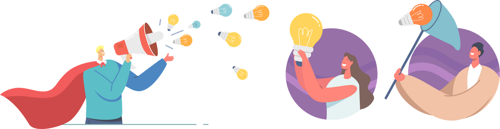 Marketer Spread Knowledge and Ideas Illustration