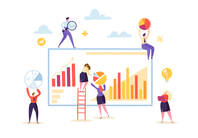 Marketing Analytics with Business People Characters Working Together with Diagrams and Graphs Illustration