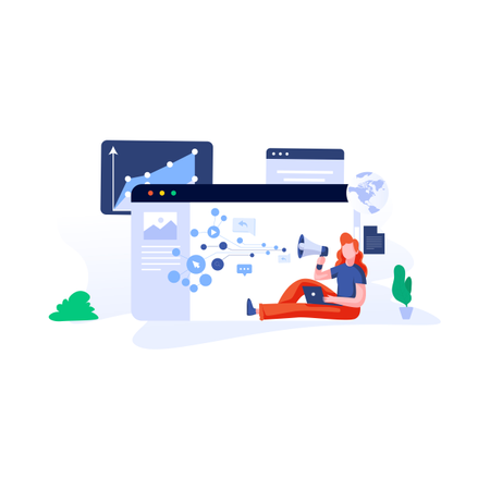 Marketing and pay per click concept Illustration