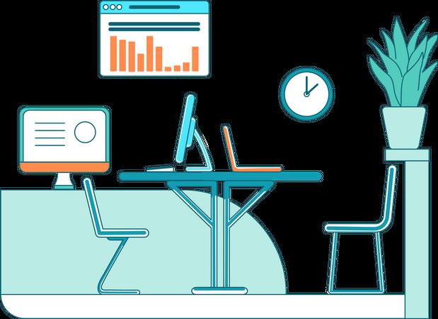 Marketing department desks Illustration