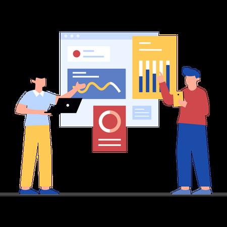 Marketing employee analyzing Market Illustration