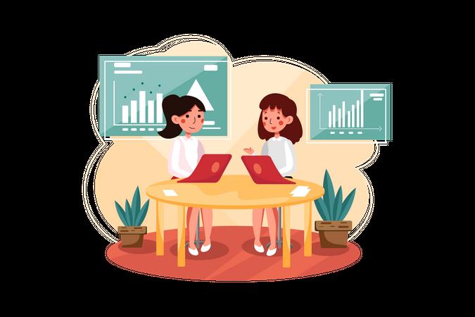 Marketing employee analyzing marketing data Illustration