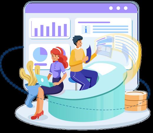 Marketing employee gathering data Illustration