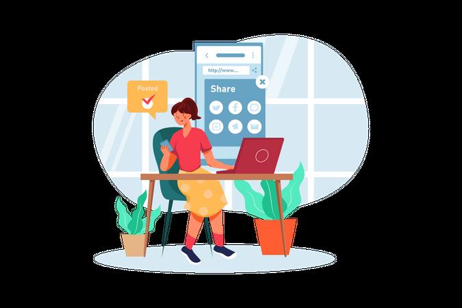 Marketing employee sharing ideas Illustration