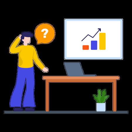 Marketing employee thinking about revenue growth Illustration