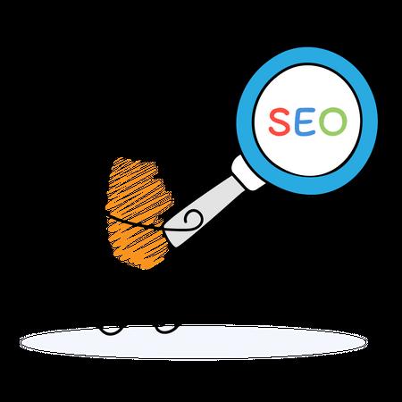 Marketing employee working on SEO Illustration