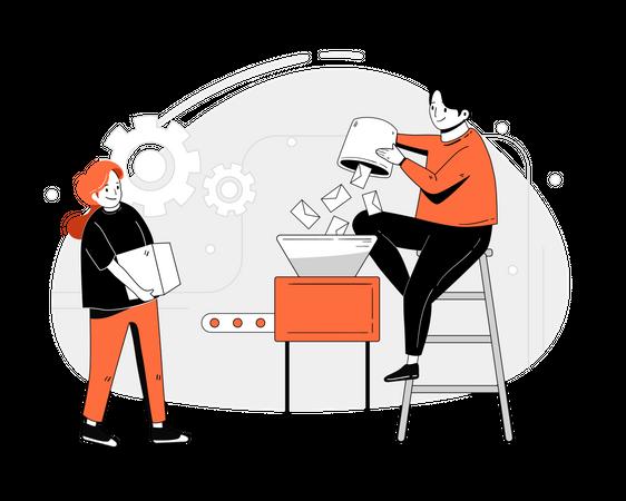 Marketing employees working on mail posting Illustration