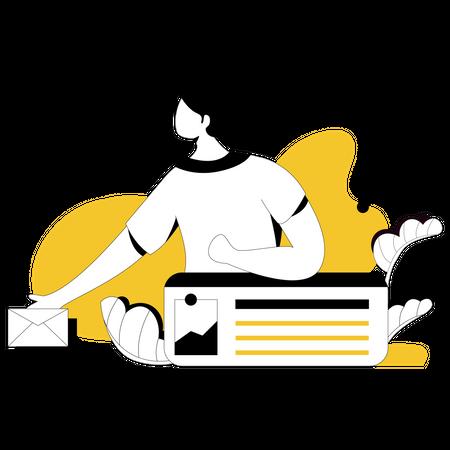 Marketing employer doing mail marketing Illustration