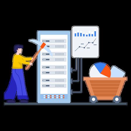 Marketing executive doing data research Illustration