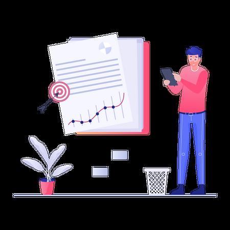 Marketing executive managing weekly target Illustration