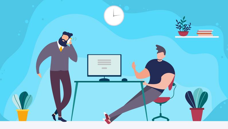 Marketing executives working together Illustration