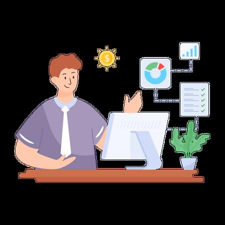 Marketing manager managing data Illustration