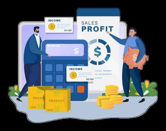 Marketing sales report calculation Illustration