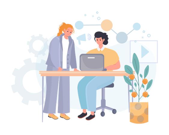 Marketing team analyzing data at office Illustration