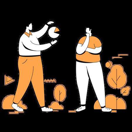 Marketing team discussion marketing strategy Illustration