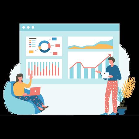 Marketing team doing analysis Illustration