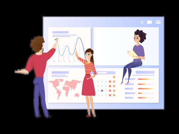 Marketing team doing Global Data Analysis Illustration