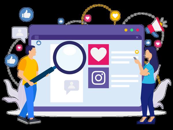 Marketing team doing social media marketing Illustration