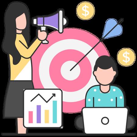 Marketing team focusing on aim Illustration