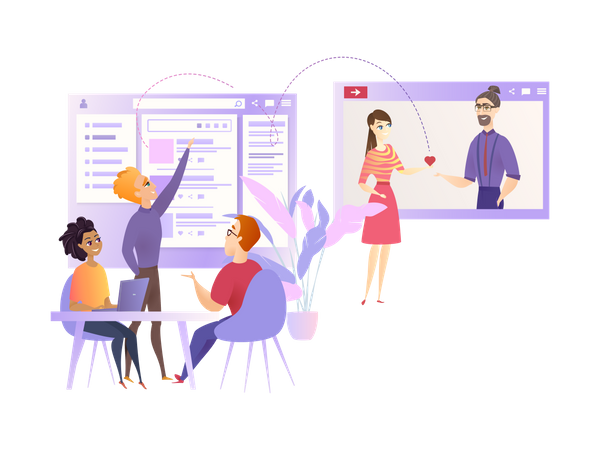 Marketing Team Improve User Experience from dating website Illustration