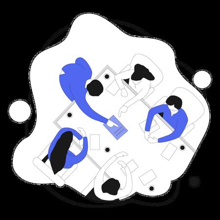 Marketing Team Meeting Illustration