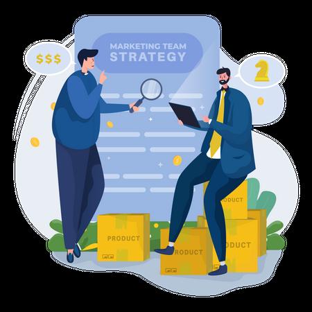 Marketing team planning strategy Illustration