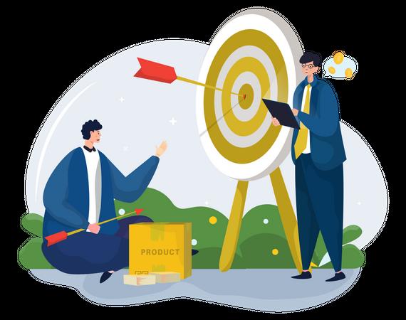 Marketing team setting sales target Illustration