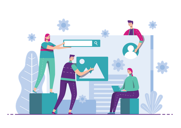 Marketing team setting up product advertisement Illustration