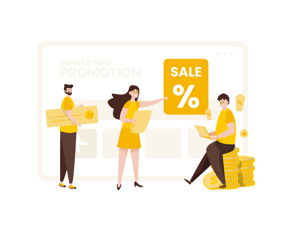 Marketing team with promotion strategy Illustration
