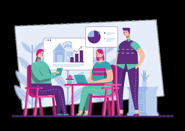 Marketing team working on product based promotion Illustration