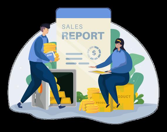 Marketing team working on sales report Illustration