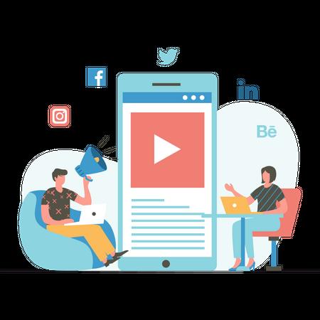 Marketing team working on Social Media Marketing Illustration