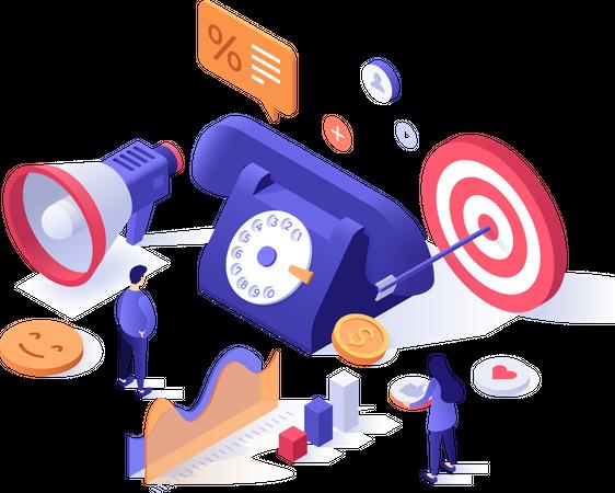 Marketing tools and result Illustration