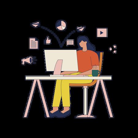 Marketing Woman Illustration