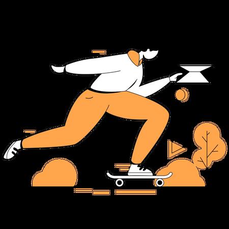 Marketing woman doing online marketing Illustration