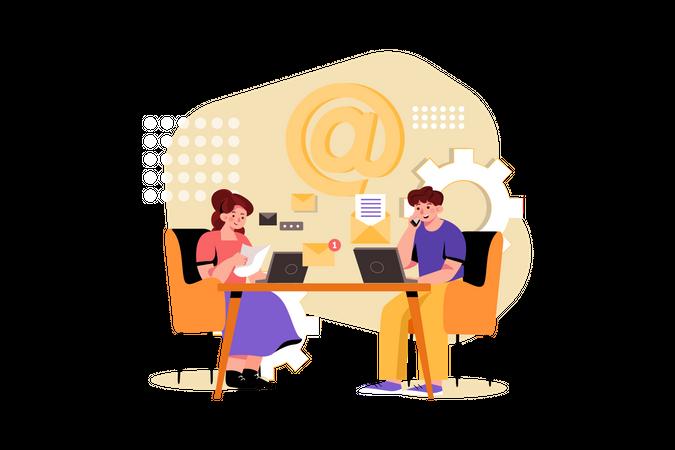 Marketing working on email marketing Illustration