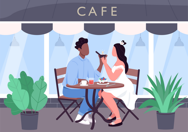Marriage proposal at cafe Illustration