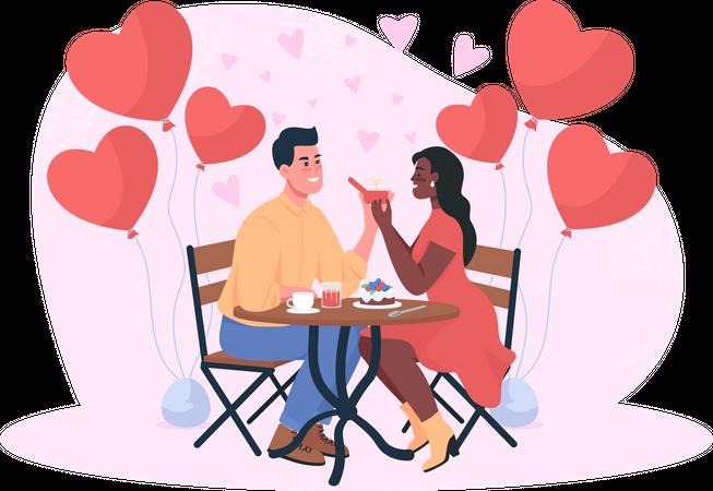 Man proposing girl on dinner date Illustration