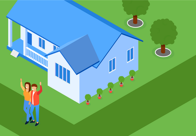 Married Couple on Lawn his House Laughs and Waves his Hands Illustration