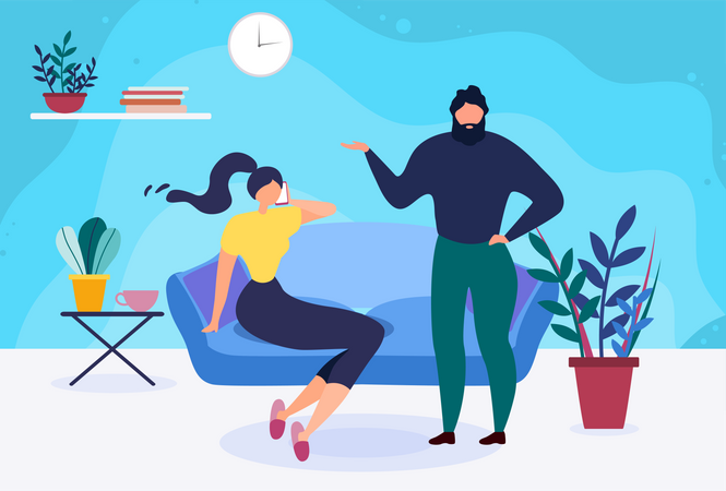 Married Couple Spending Time at Home Illustration