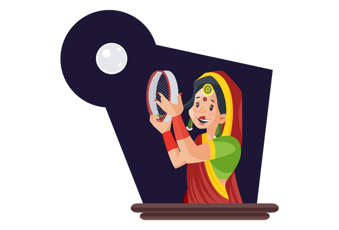 Married indian woman looking at moon using strainer Illustration