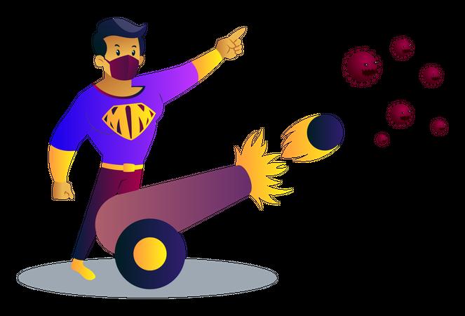 Mask man is fighting with coronavirus Illustration