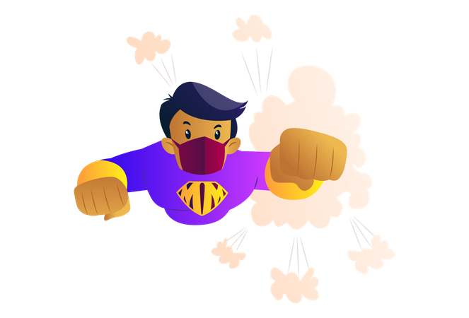 Mask man is flying high and fighting with corona Illustration