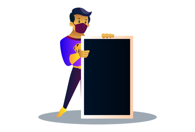 Mask man is holding an empty board in hand Illustration