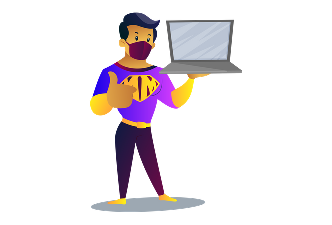 Mask man is holding laptop in hand Illustration