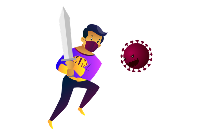 Mask man is holding sword and fighting with coronavirus Illustration