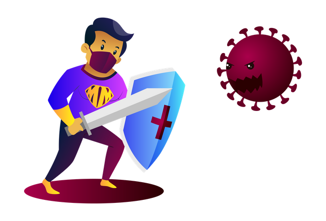 Mask man is holding sword and shield in hand and fighting with coronavirus Illustration