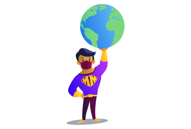 Mask man is holding the earth on one hand Illustration